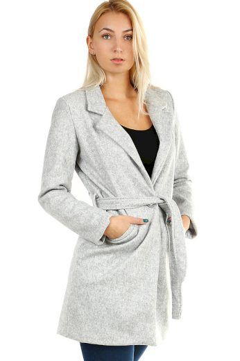 Glara Dámský kabát s páskem a límečkem 391678