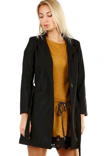Glara Dámský kabát s páskem a límečkem 391680