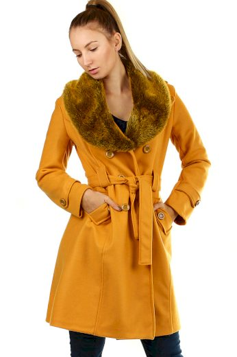 Glara Flaušový kabát s kožešinovým límcem 419330