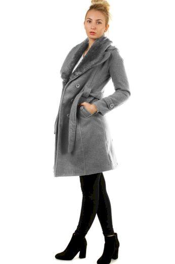 Glara Flaušový kabát s kožešinovým límcem 419352