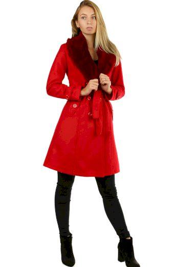 Glara Flaušový kabát s kožešinovým límcem 419337