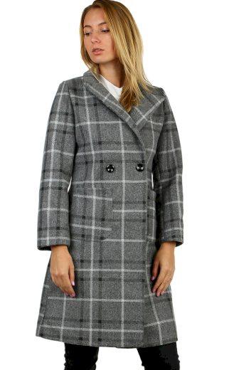 Glara Dámský kostkovaný kabát rovného střihu 497457