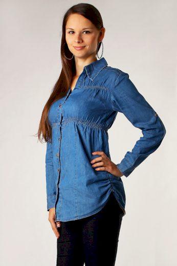 Glara Džínová dámská košile s dlouhým rukávem 8173