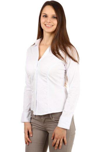 Glara Společenská bílá dámská košile s dlouhým rukávem 100109