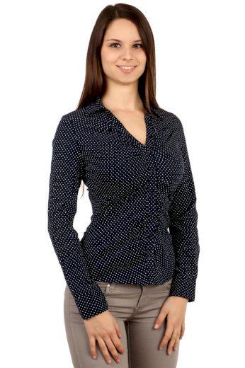 Glara Dámská košile s puntíky a dlouhým rukávem 101497
