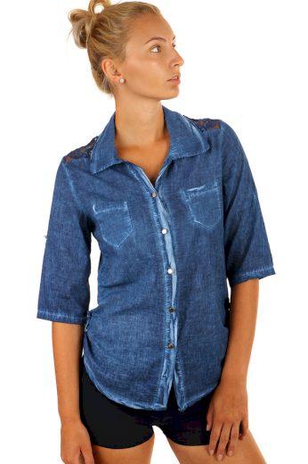 Glara Dámská košile s krajkou a tříčtvrtečními rukávy 232788