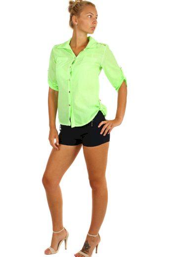 Glara Dámská košile s krajkou a tříčtvrtečními rukávy 232792