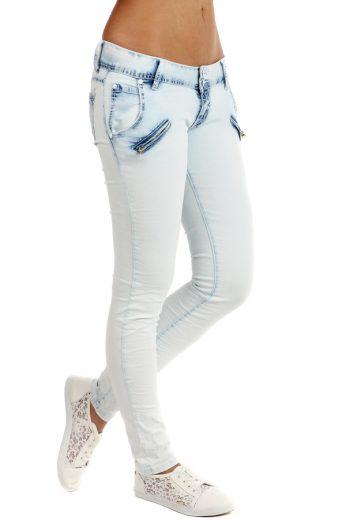 Glara Dámské bílé úzké džíny 109044