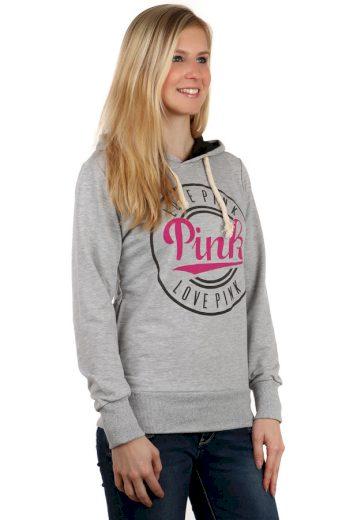 Glara Dámská bavlněná sportovní mikina s kapucí a nápisem pink 121605