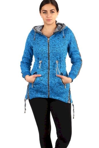 Glara Zateplená dámská žíhaná mikina na zip s kapucí 212633