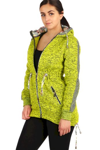 Glara Zateplená dámská žíhaná mikina na zip s kapucí 212638