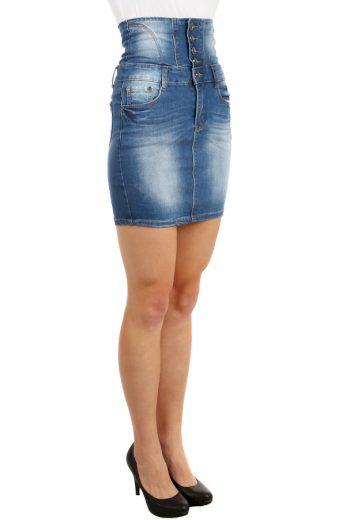 Glara Riflová dámská krátká sukně s vysokým pasem 65706