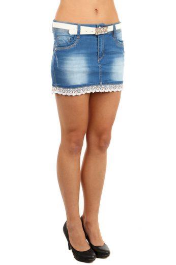 Glara Dámská riflová mini sukně lemovaná krajkou 85920