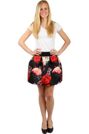 Glara Krátká dámská květovaná balonová sukně 128842