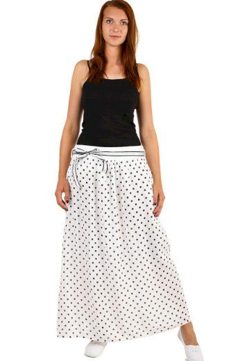 Glara Dlouhá dámská lněná sukně s puntíkama 240588