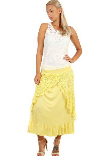 Glara Dlouhá dámská společenská sukně s krajkou 241008