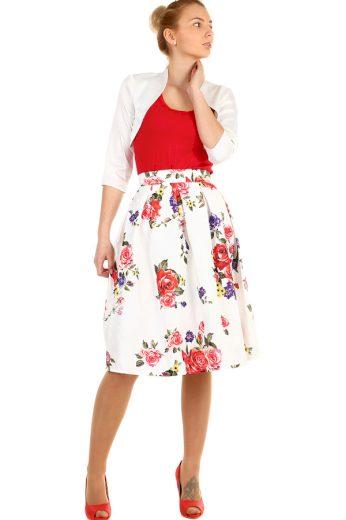Glara Dámská áčková půlkolová sukně s květinovým potiskem 293125