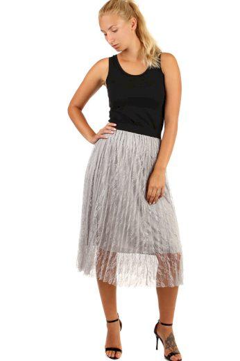 Glara Dámská plisovaná tylová midi sukně 249130