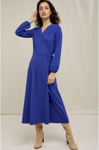 Glara Zavinovací biobavlněné šaty s balonovými rukávy 692823