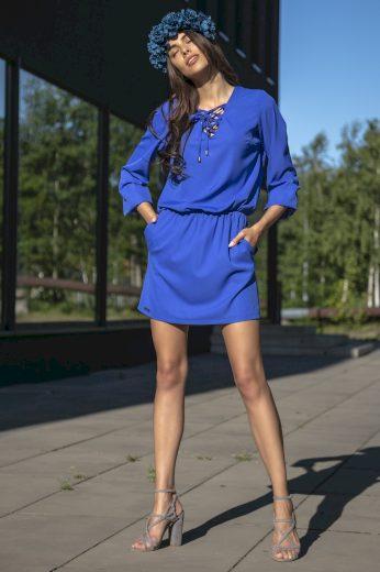 Glara Šaty s vázankou ve výstřihu 695253