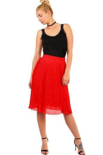 Glara Dámská plisovaná skládaná midi sukně v pase pružná 335325