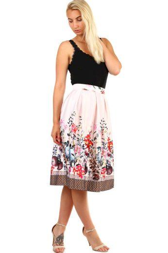 Glara Dámská skládaná půlkolová retro sukně s květinovým potiskem 335541
