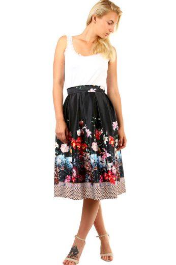 Glara Dámská skládaná půlkolová retro sukně s květinovým potiskem 335546