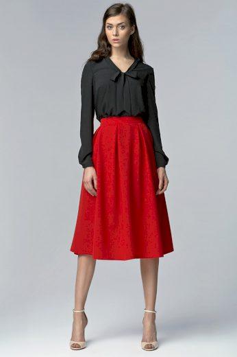Glara Dámská skládaná midi sukně s kapsami 401908