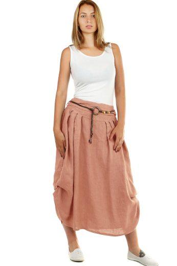 Glara Dámská dlouhá balonová sukně lněná 535573