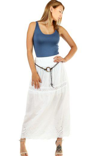 Glara Dlouhá dámská jednobarevná sukně se vzorem 468778