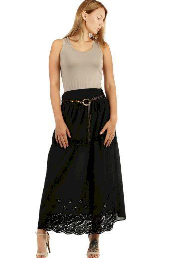 Glara Dlouhá dámská jednobarevná sukně se vzorem 468782