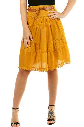 Glara Bavlněná dámská sukně s krajkou 469574
