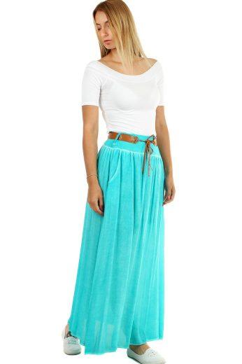 Glara Romantická dlouhá sukně s páskem 477845