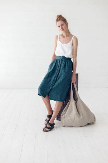 Glara Lněná propínací midi sukně excellent quality 533038