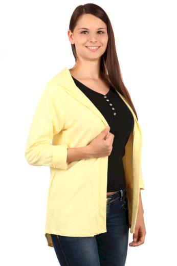 Glara Jednobarevný dámský kardigan s kapucí 69925