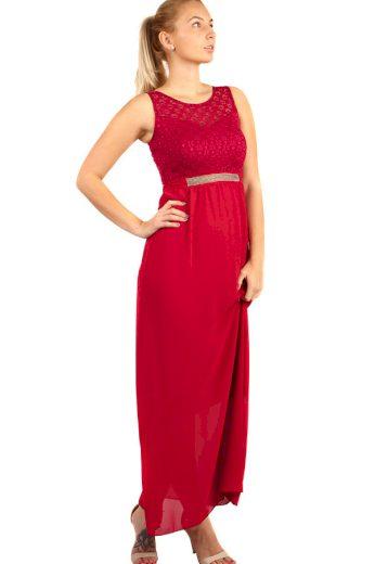 Glara Dlouhé plesové šaty s kamínkovou aplikací v pase 282823