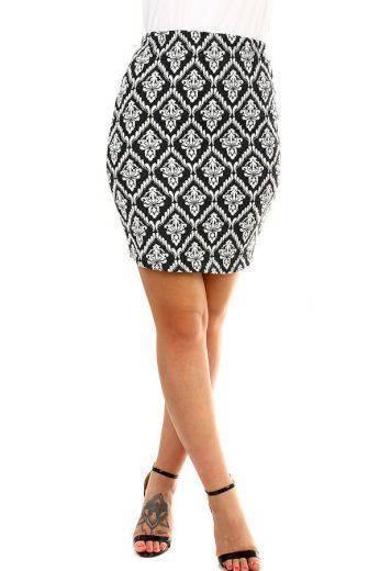 Glara Dámská černobílá sukně s ornamentálním vzorem 377039