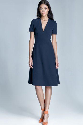 Glara Společenské dámské šaty s rukávem 418175