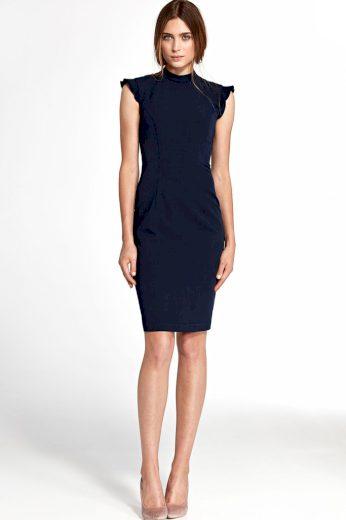 Glara Společenské šaty s volánovými rukávy 418208