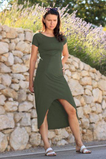 Glara Dámské šaty s delším zadním dílem 548428