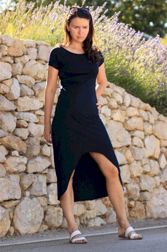 Glara Dámské šaty s delším zadním dílem 548429