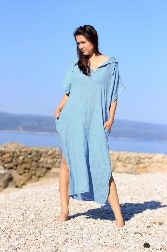 Glara Dámské dlouhé oversized lněné šaty 668796