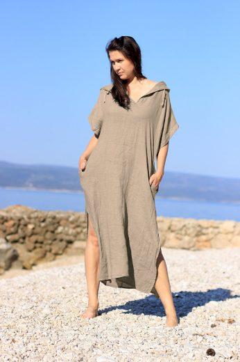 Glara Dámské dlouhé oversized lněné šaty 686961