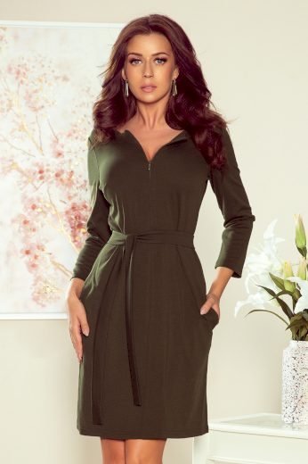 Glara Jednobarevné elegantní šaty s rukávem 661913