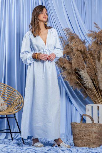 Glara Letní dlouhé lněné šaty 671002