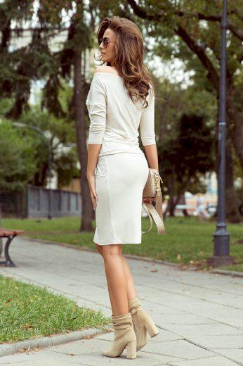 Glara Pohodlné úpletové šaty s kapsami 689967
