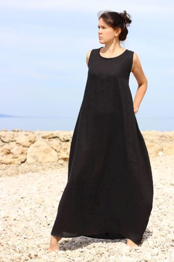 Glara Autorské české maxi šaty Lotika 100% len Premium quality 707162
