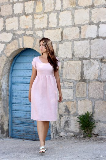 Glara České lněné šaty Lotika midi délka Premium quality 707513