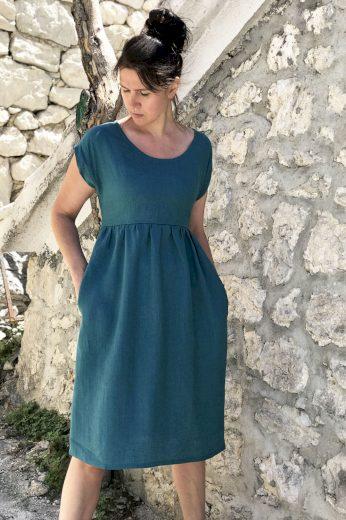 Glara České lněné šaty Lotika midi délka Premium quality 707533