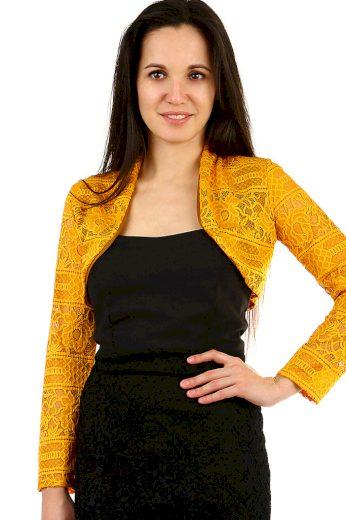 Glara Dámské bolerko s krajkou a dlouhým rukávem 441233